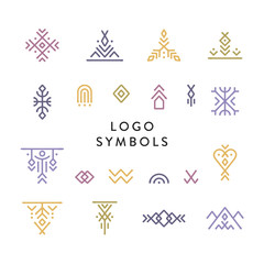 Deurstickers Boho Stijl Vector set of line art symbols for logo design in boho and hipster style.