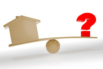 House and question mark on the seesaw, 3D illustration