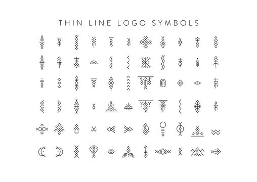 Vector set of line art symbols for logo design and lettering in boho and hipster style.