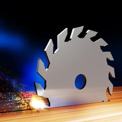 Circular saw blade cuts through wood, 3D-Illustration