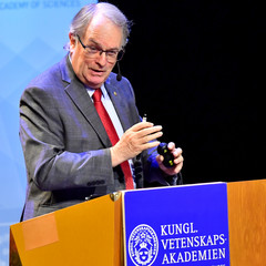 "Chemistry Laureate M. Stanley Whittingham speaks during his Nobel Lecture ""The Origins of the Lithium Battery"" at Stockholm University in Stockholm"