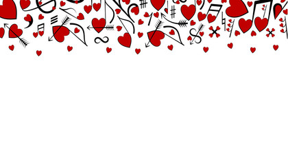 Hearts and music notes. Holiday background for Valentine's Day. Hearts are drawn as notes. Place for text. Vector illustration.