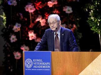 "Chemistry Laureate Akira Yoshino speaks during his Nobel Lecture  ""Brief History and Future of Lithium-ion Batteries"" at Stockholm University in Stockholm"