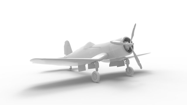 3d rendering of war world 2 fighter airplane isolated in studio background
