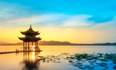 Beautiful architectural landscape and landscape of West Lake in Hangzhou..