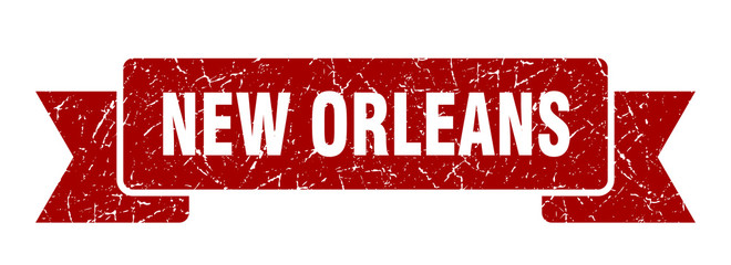New Orleans ribbon. Red New Orleans grunge band sign