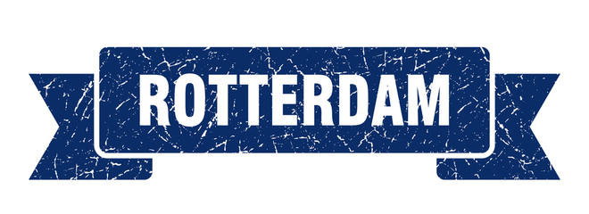 Photo sur Aluminium Rotterdam Rotterdam ribbon. Blue Rotterdam grunge band sign