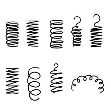 Spiral spring. Flexible coils, wire springs and metal coil spirals silhouette. Vape metallic flexible coils, flexibility steel motor spiral with hand drawn doodle style isolated