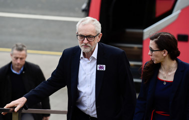 Britain's opposition Labour party leader Jeremy Corbyn campaigns in Bangor