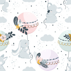 seamless pattern with flying animals on balloons - vector illustration, eps