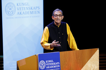 "Laureate of The Sveriges Riksbank Prize in Economic Sciences in Memory of Alfred Nobel Abhijit Banerjee speaks during his prize Lecture ""Field experiments and the practice of economics"" at Stockholm University in Stockholm"