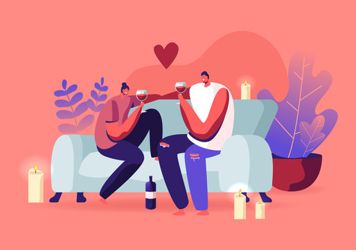 Young Loving Couple Spend Time at Home Sitting on Couch Together Chatting, Drinking Wine with Burning Candles around on Weekend Evening. Love, Flirting Sparetime. Cartoon Flat Vector Illustration