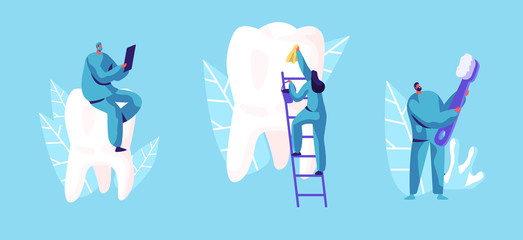 Dental Care Concept. Tiny Dentists Characters in Medical Robe Cleaning and Brushing Huge Teeth. Doctor Using Gadget. Health Care, Oral Treatment Program, Check Up Cartoon Flat Vector Illustration