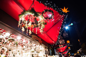 Sales of beautiful Christmas decorations on the traditional Christmas market fair in Europe