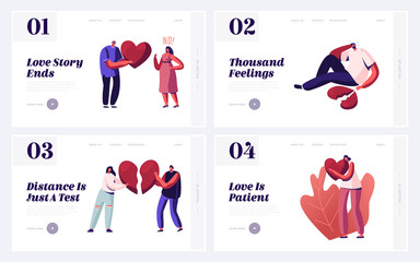 Couple Breakup, Disagreement and Cheating Website Landing Page Set. Men and Women with Broken Heart Parting and Divorce. Sorrow Frustration Feelings Web Page Banner. Cartoon Flat Vector Illustration