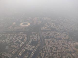 An aerial view of the Delhi skyline shrouded in smog, in New Delhi