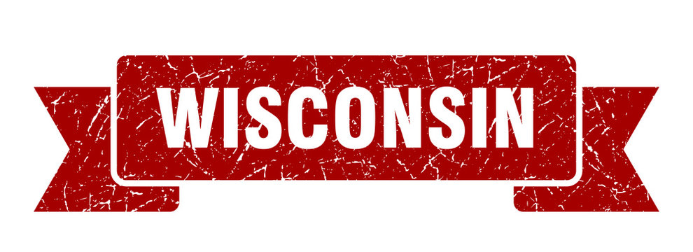 Wisconsin ribbon. Red Wisconsin grunge band sign