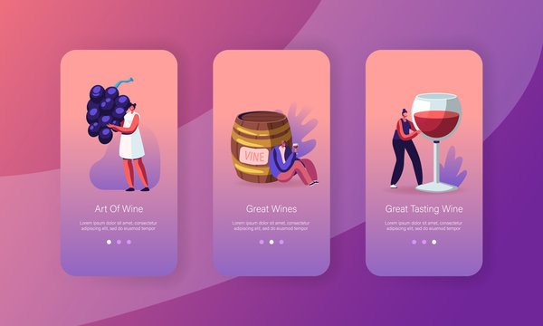 Wine Degustation Mobile App Page Onboard Screen Set. Man at Barrel, Woman with Huge Wineglass Drinking and Tasting Alcohol Drinks Concept for Website or Web Page, Cartoon Flat Vector Illustration