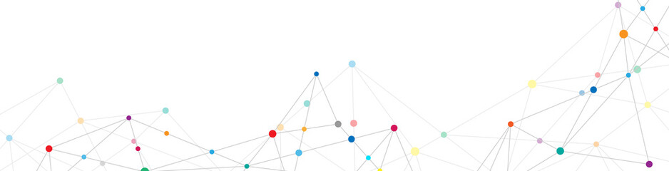Fotobehang - Abstract plexus background with connecting dots and lines. Global network connection, digital technology and communication concept.