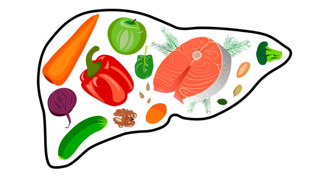 Food for the liver. Useful products for cleansing the liver and removing toxins. Vegetables, fruits, nuts, seeds, forkl, oily fish.
