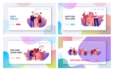Loving Relations, Happiness Surprise Love Website Landing Page Set. Happy Couple Prepare Gifts to Each Other. Man Giving Heart and Flowers to Woman Web Page Banner. Cartoon Flat Vector Illustration