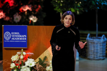 Economic Sciences Laureate Duflo speaks during her prize lecture at Stockholm University