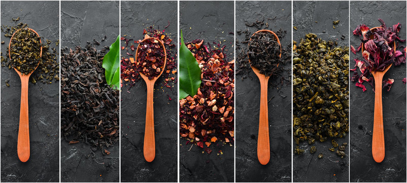 Photo banner. Collage photo of dry tea in spoons. On a black stone background.