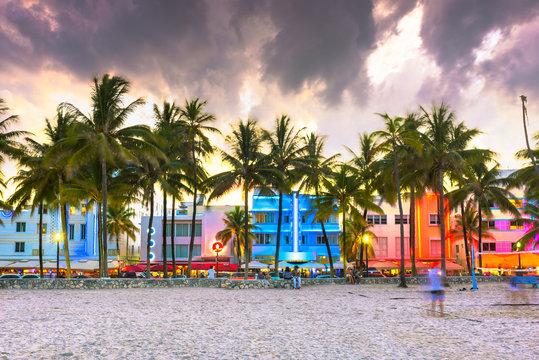 Miami Beach, Florida, USA cityscape with art deco buildings on Ocean Drive