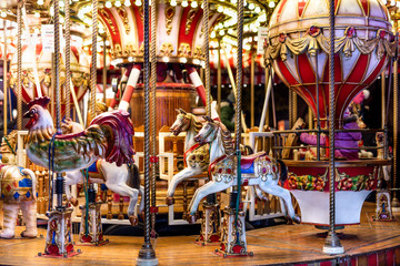 Christmas colorful carousel with lights