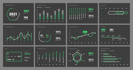 Elements of infographics on a black background. Use in presentation templates, flyer, leaflet and corporate report. Dashboard UI and UX Kit with big data visualization. Wall mural
