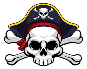 A skull and crossbones jolly roger wearing a pirate hat which also has a cross bones on it