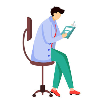 Scientist reading book, journal flat vector illustration. Doctor sits on chair. Getting, analysing information. Man in blue lab coat isolated cartoon character on white background