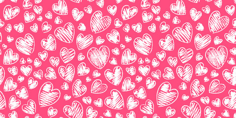 Romantic seamless pattern with cute images of hearts on a white background. The style of children's drawing.