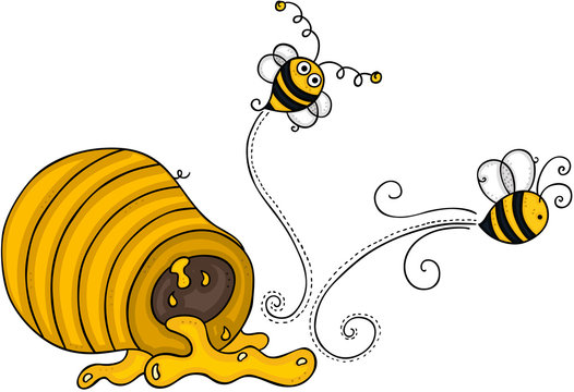 Two bees going out of honey pot