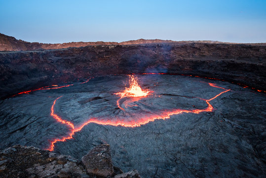 Ripple of lava and sparkling lava at Erta Ale volcano