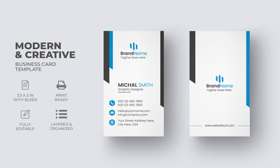 Vertical Business Card Template with Creative Design