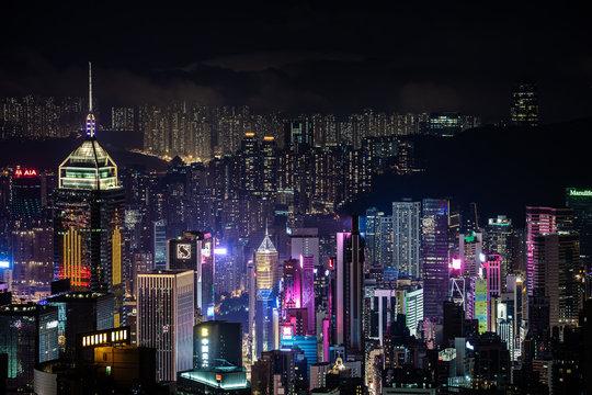 Hongkong lights and cityscape by night