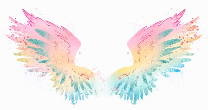 Beautiful watercolor magic rainbow wings