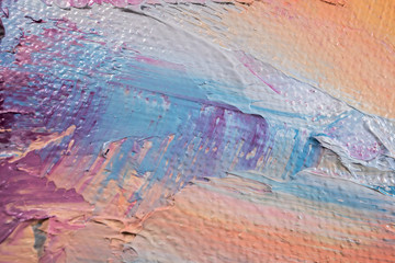 Fragment. Multicolored texture painting. Abstract art background. oil on canvas. Rough brushstrokes of paint. Closeup of a painting by oil and palette knife. Highly-textured, high quality details.