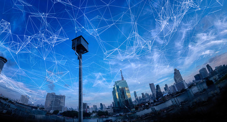 Wall Mural -  Wireless network and Connection technology concept with Abstract Bangkok city background