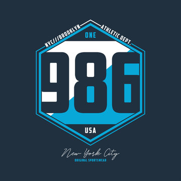 Athletic number t-shirt design. NYC, Brooklyn typography graphics for sport apparel. Vector illustration.