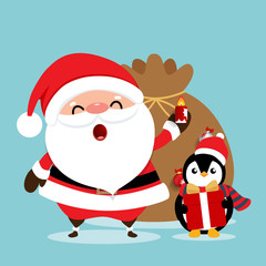 Canvas Prints Owls cartoon Holiday Christmas greeting card with Santa Claus, and Penguin cartoon. Vector illustration