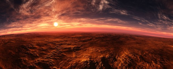 Panorama of Mars at sunset, sunrise above the surface of Mars, Martian landscape, 3d rendering