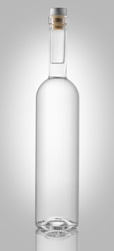Bottle of vodka or gin isolated on white background, clipping path included.