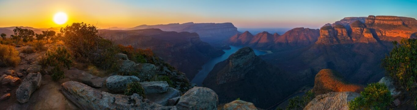 three rondavels and blyde river canyon at sunset, south africa