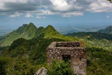 Overlook over the beautiful mountains around Unesco world heritage sight the Citadelle Laferriere, Cap Haitien, Haiti, Caribbean