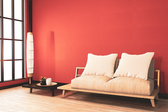 Lush Lava wall background, Ryokan room japanese with wooden arm chair and low table.3D rendering