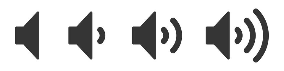 Set of volume icons. Black volume sound icons