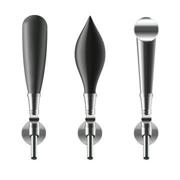 Realistic Detailed 3d Black Beer Taps Set. Vector
