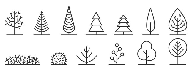 Set of minimal trees linear icons - vector